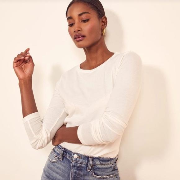 Aritzia Babaton Linen White Long Sleeve Shirt